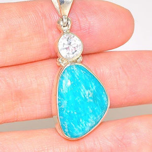 Sterling Silver 8.6-Carat Amazonite and White Topaz Pendant
