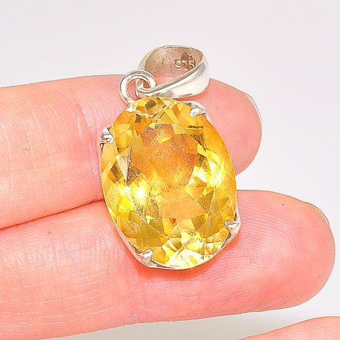 Sterling Silver 14-Carat Citrine Oval Pendant