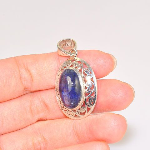 Sterling Silver Kyanite Oval Filigree Pendant