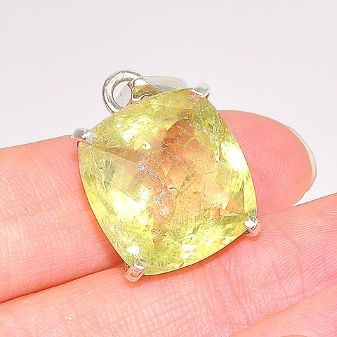 Sterling Silver Faceted Citrine Pendant