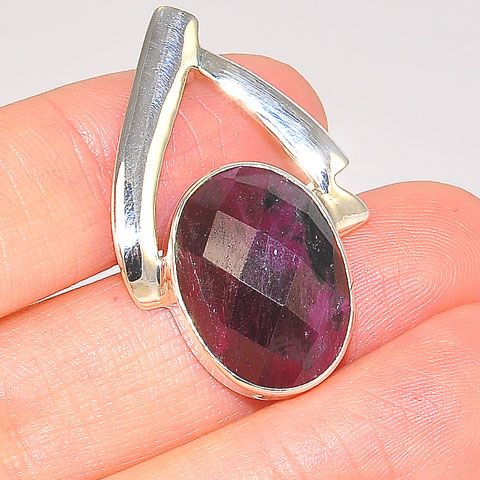 Sterling Silver Ruby Anyolite Oval Faceted Pendant