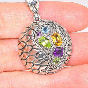 Sterling Silver Amethyst, Peridot and Citrine Round Scaled Pendant