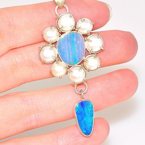 Sterling Silver Australian Opal Doublet and Mabe Pearl Border Pendant
