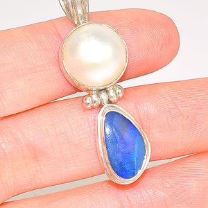 Sterling Silver White Mabe Pearl and Australian Opal Pendant