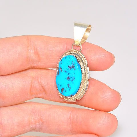Native American Sterling Silver Sleeping Beauty Turquoise Nugget Pendant