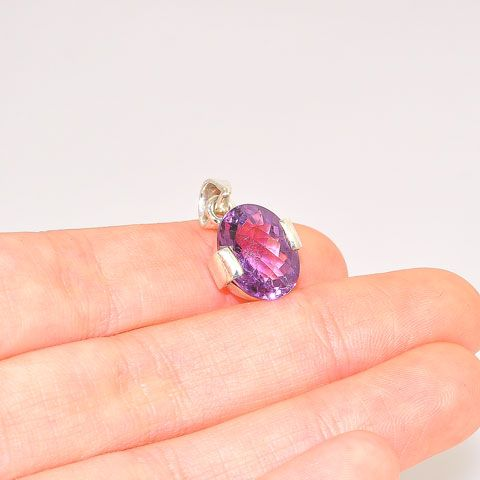 Sterling Silver 5-Carat Amethyst Oval Faceted Pendant