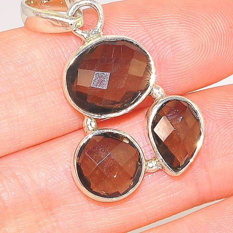 Sterling Silver Smoky Quartz Trio Oval, Round and Pear Pendant