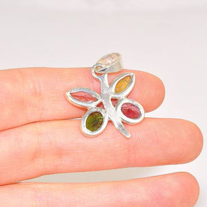 Sterling Silver Multicolor Tourmaline Butterfly Pendant