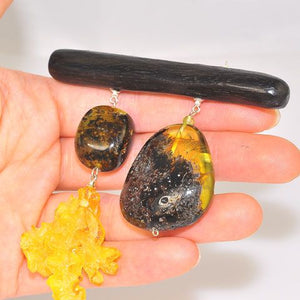 Sterling Silver Baltic Raw Amber, Carved Baltic Butterscotch Amber and Ebony Wood Pin