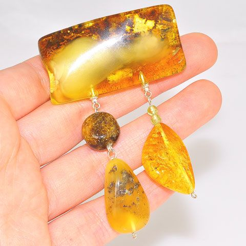 Sterling Silver Baltic Amber and Peridot Bead Pin