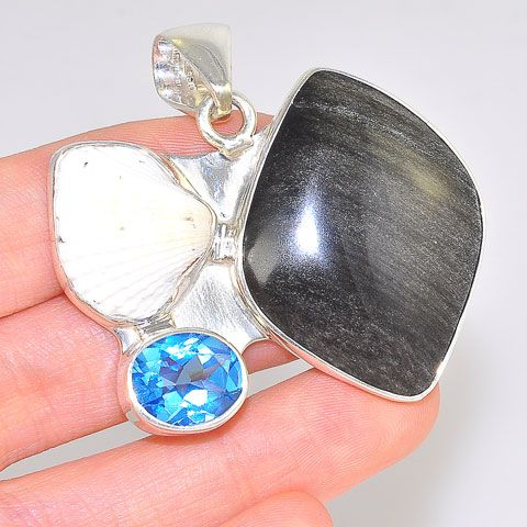 Charles Albert Sterling Silver Obsidian, Blue Topaz and Sea Shell Pendant