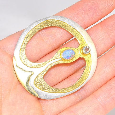 Sterling Silver and 22k Gold Vermeil White Topaz and Opal Pin