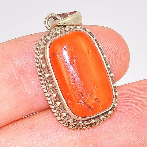 Sterling Silver Tibetan Scroll Edge Coral Rectangle Pendant