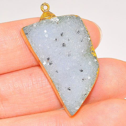 24K Gold Plated Over Sterling Silver White Druzy Pendant