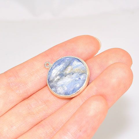 Silver Plated Kyanite Button Pendant