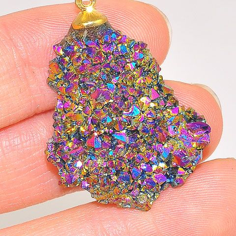 24K Gold Plated Over Sterling Silver Titanium Druzy Pendant