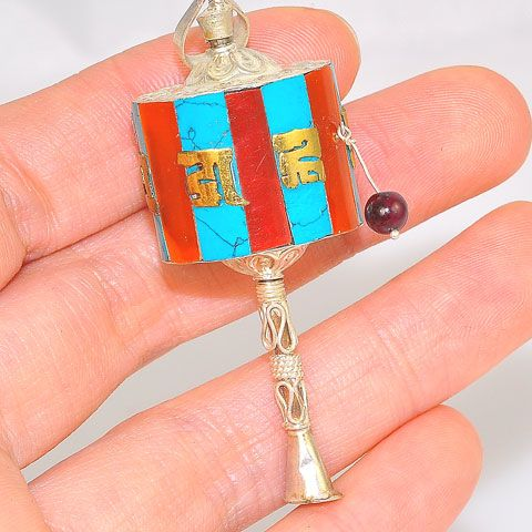 Sterling Silver Tibetan Turquoise and Coral OM Prayer Wheel Pendant