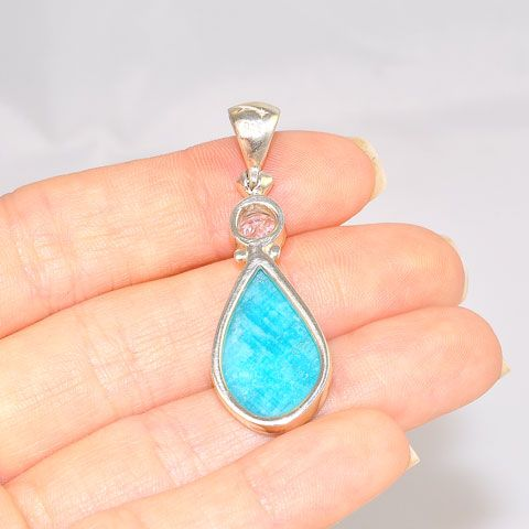 Sterling Silver 6.3 Carat Amazonite and 1.1 Carat White Topaz Pendant