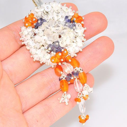 Sterling Silver India Moonstone, White Topaz, Carnelian and Iolite Beaded Medallion Pendant
