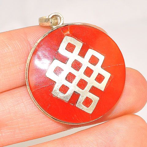Sterling Silver Tibetan Coral Inlay Endless Knot Pendant