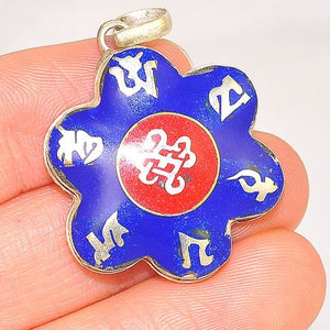 Sterling Silver Tibetan Lapis Lazuli and Coral OM Pendant