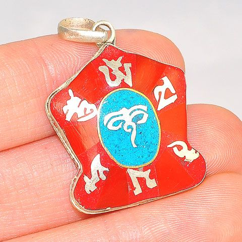 Sterling Silver Tibetan Coral and Turquoise Buddha Eye OM Pendant