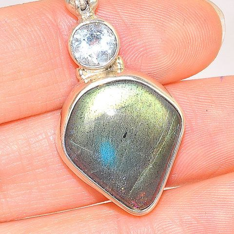Sterling Silver Labradorite and Topaz Pendant