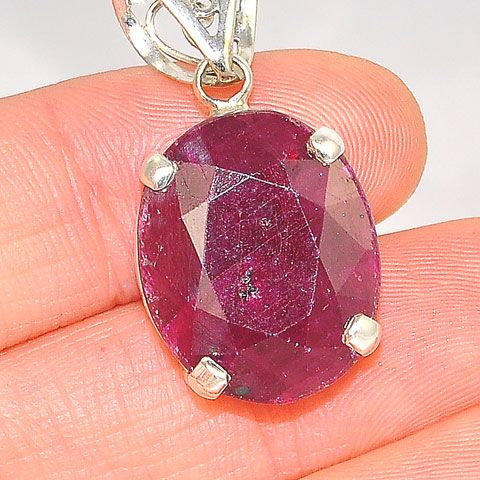 Sterling Silver Ruby Oval Pendant