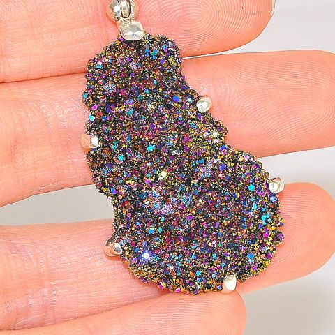 Sterling Silver 0.4-Carats Amethyst and Quartz Crystal Pendant