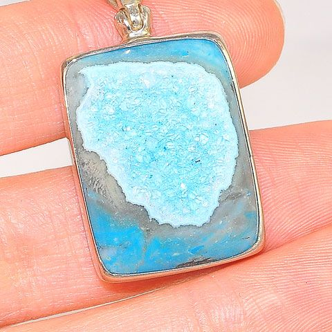 Sterling Silver Baby Blue Druzy Rectangle Pendant