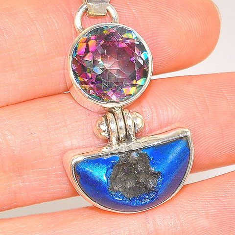 Sterling Silver Blue Druzy and Mystic Topaz Duet Pendant