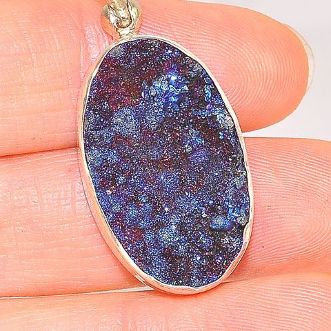 Sterling Silver Blue Druzy Oval Pendant