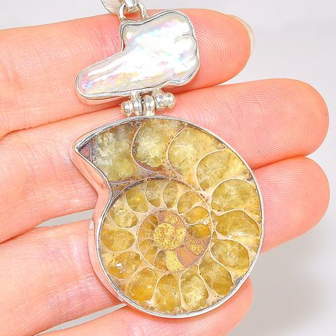 Sterling Silver Fossil Ammonite and Freeform Freshwater Pearl Duet Pendant