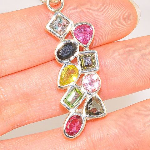 Sterling Silver India Multicolor Tourmaline Pendant