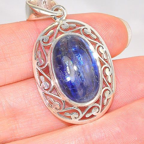 Sterling Silver Kyanite Design Edged Pendant
