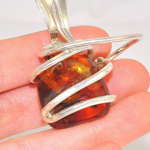 Sterling Silver Baltic Honey Amber Intricate Pendant