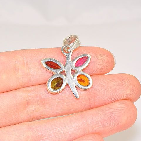 Sterling Silver India Multicolor Tourmaline Butterfly Pendant