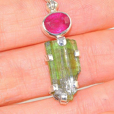 Sterling Silver 6.5-Carats Green Tourmaline Crystal and 1.2-Carats Pink Tourmaline Pendant