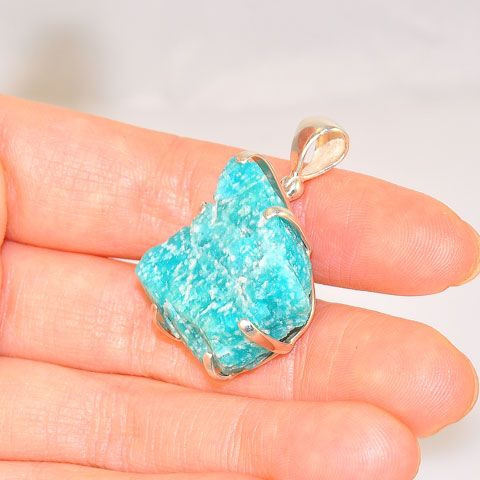 Sterling Silver 37.5-Carats Rough Amazonite Pendant