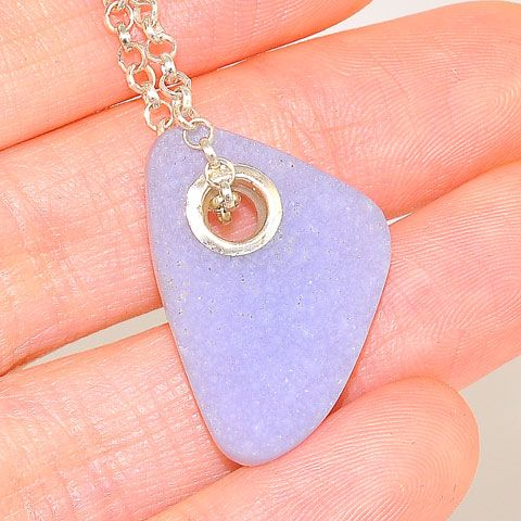 Sterling Silver Chalcedony Druzy Chain and  Lobster Clasp Pendant
