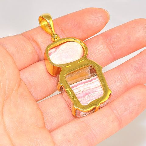 18K Gold Plated Over Brass 60.8-Carats Rhodochrosite Duet Pendant