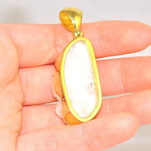 18K Gold Plated Over Brass Agate Geode Pendant