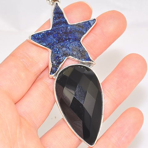 Sterling Silver Blue Druzy Star and Faceted Onyx Pendant
