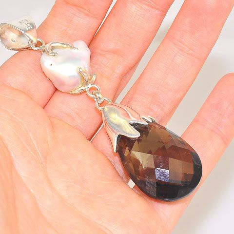 Sterling Silver Smokey Quartz, Freshwater Pearl and Garnet Dangling Pendant