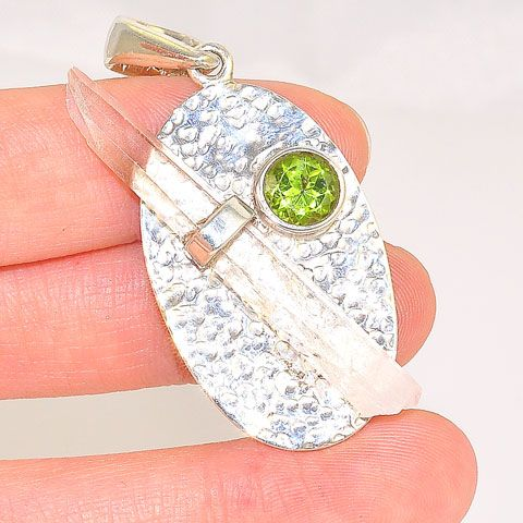 Sterling Silver Clear Quartz Crystal and Peridot Pendant