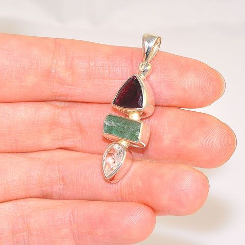 Sterling Silver 2.6-Carats Tourmaline, 2.3-Carats Green Tourmaline Crystal and 1.5-Carats White Topaz Pendant