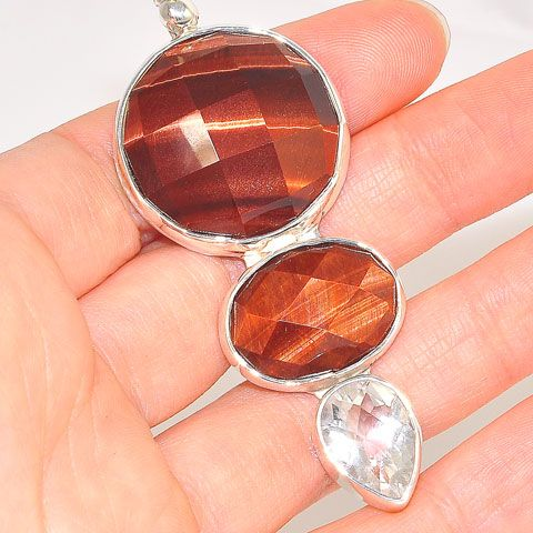 Sterling Silver Faceted Tiger Eye and White Quartz Pendant