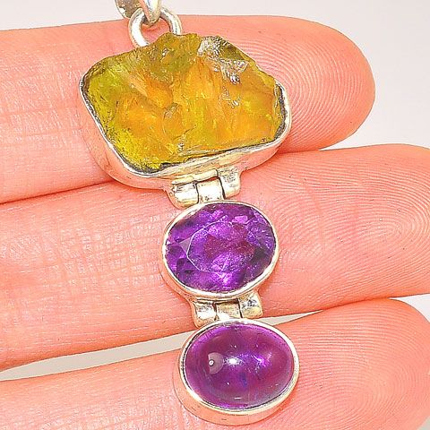 Sterling Silver Citrine Crystal and Amethyst Trio Pendant