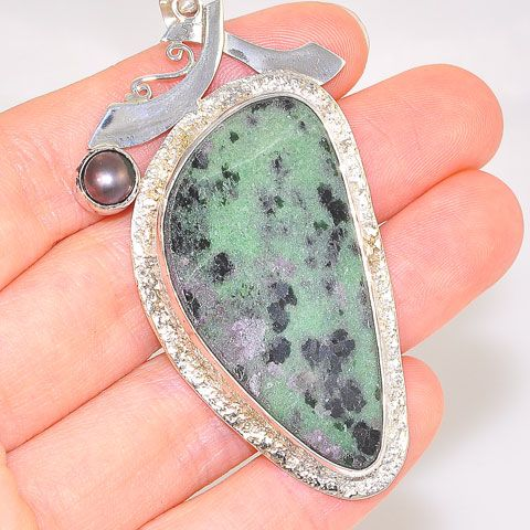 Sterling Silver Ruby Zoisite and Pearl Pendant