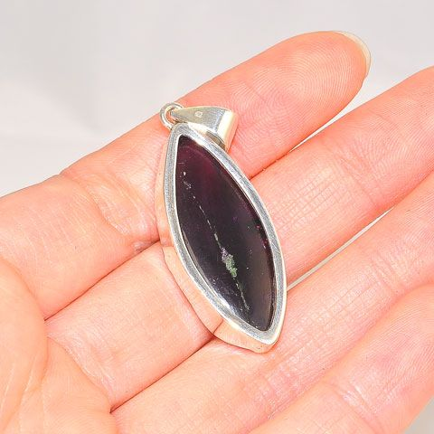 Sterling Silver Rough Amethyst Oval Pendant